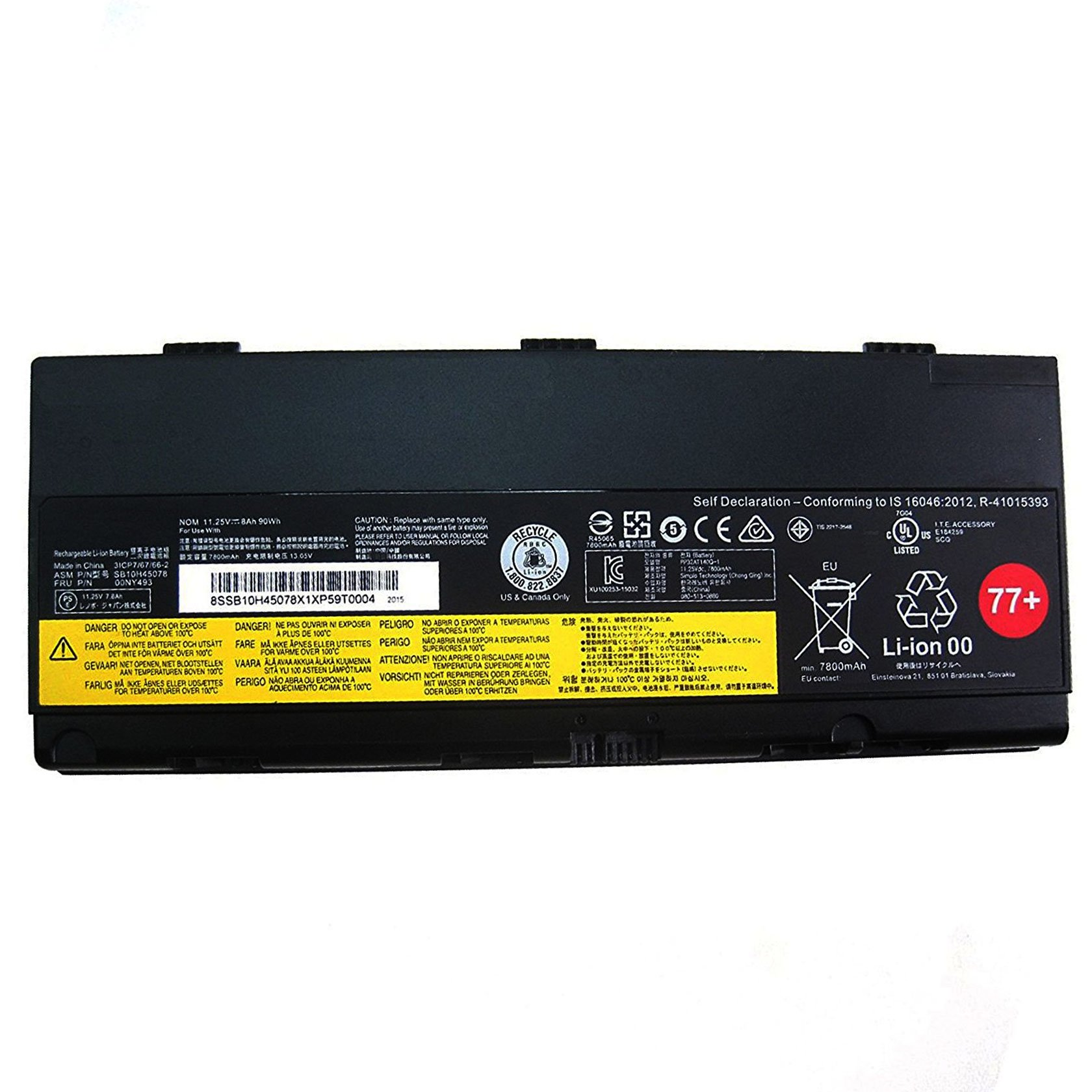 SUNNEAR Compatible/Replacement Laptop Battery for Lenovo SB10H45078 00NY493 11.25V 90WH 77+ ThinkPad P50 00NY492 SB10H45077