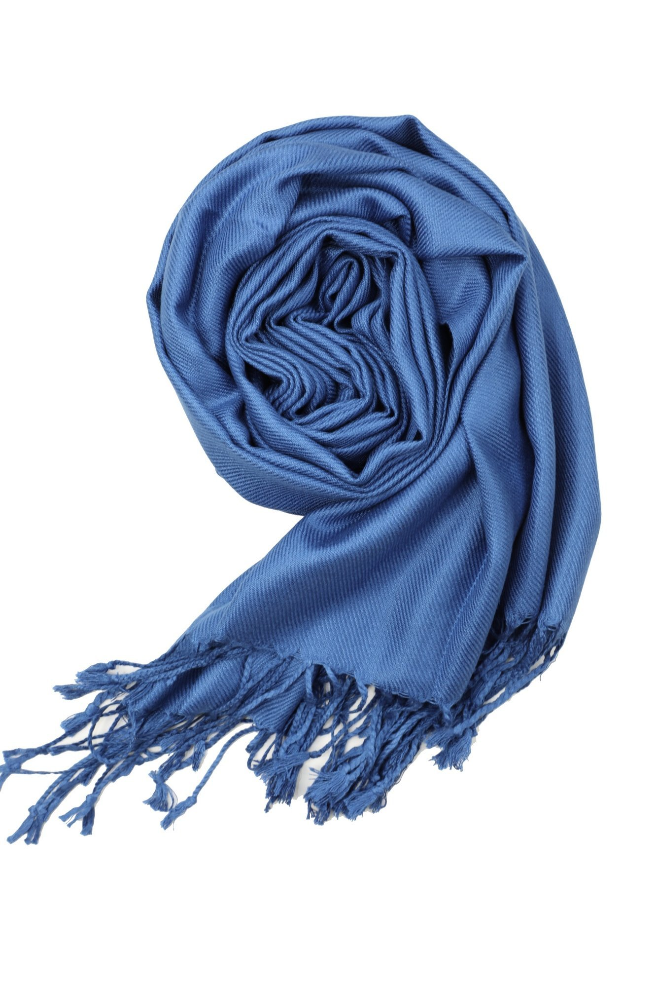 Achillea Large Soft Silky Pashmina Shawl Wrap Scarf in Solid Colors (Cobalt Blue) by Achillea (Image #3)