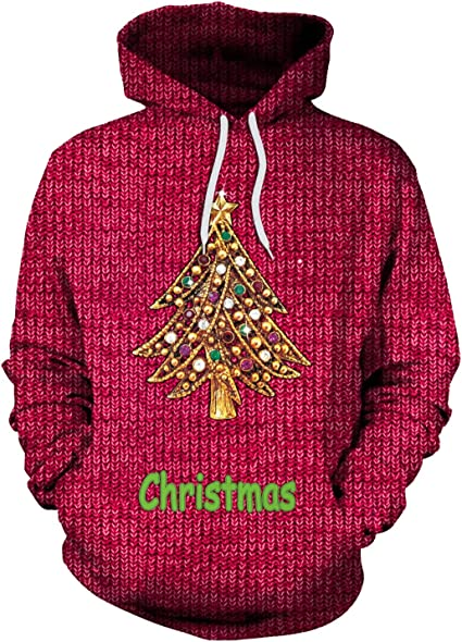 Men Hoodie Sweatshirt Pullover Top Printed Christmas Outwear Hip Hop Hood