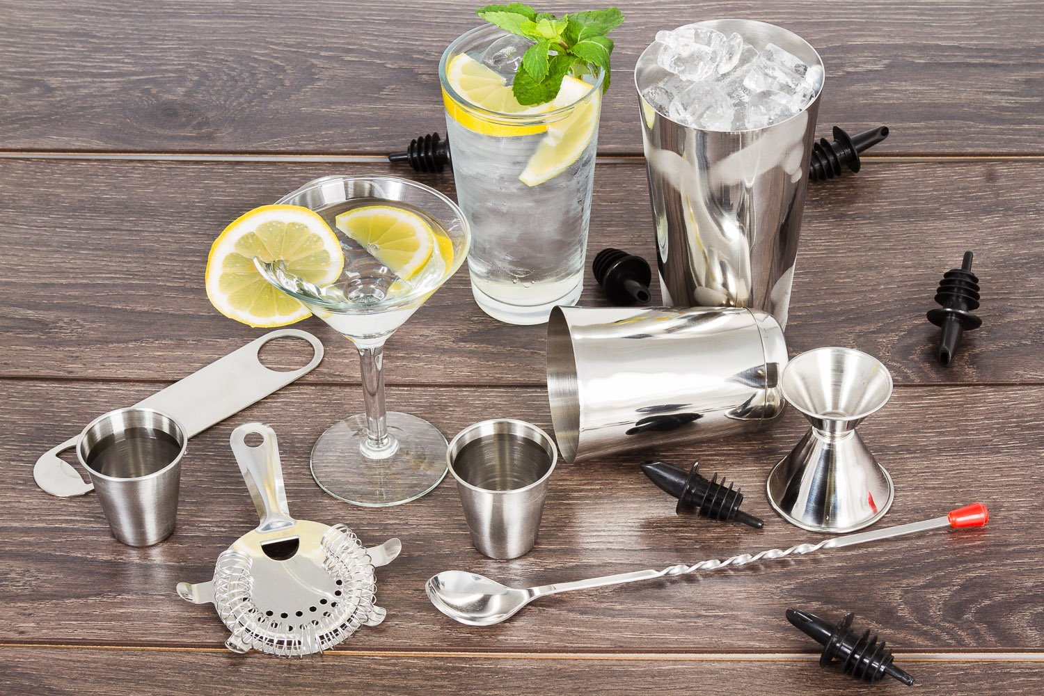 16 Pcs Cocktail Shaker Home Bar Set – Complete Bartender Kit with Double Bar Jigger, Pour Spouts, Drink Shaker, Hawthorne Strainer, Bar Spoon, Bottle Opener and Tin Shot Glasses by Lexi Home (Image #6)