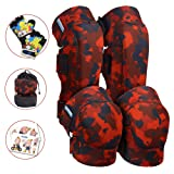 Innovative Soft Kids Knee and Elbow Pads with Bike Gloves | Toddler Protective Gear Set w/Mesh Bag | Roller-Skating, Skateboard, Bike for Children Boys Girls (Fire Camo, Small (2-4 Years))