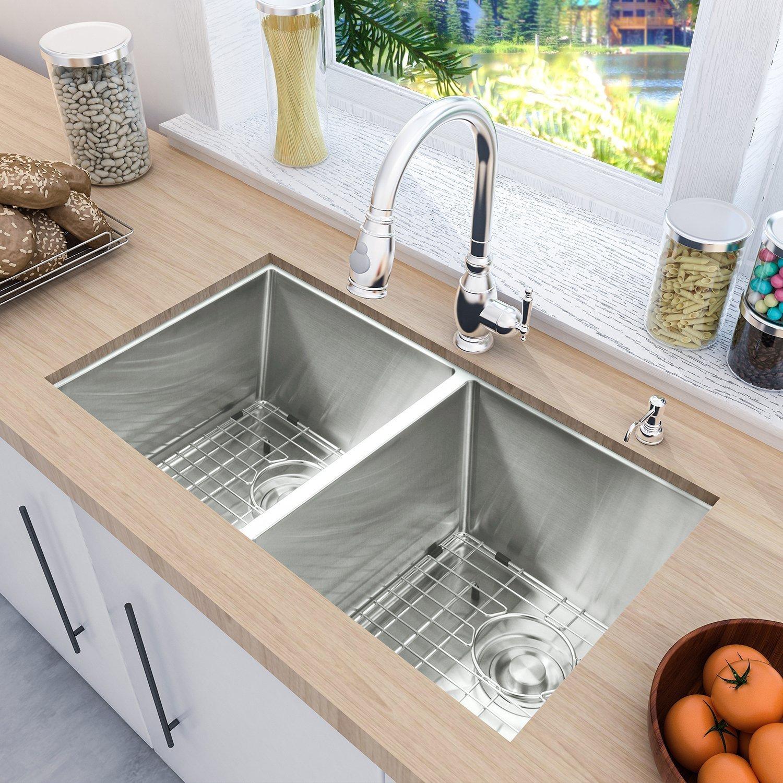 Kitchen Sink 19 X 33: 33 X 19 Undermount Deep Kitchen Sink 50/50 Double Bowl 16