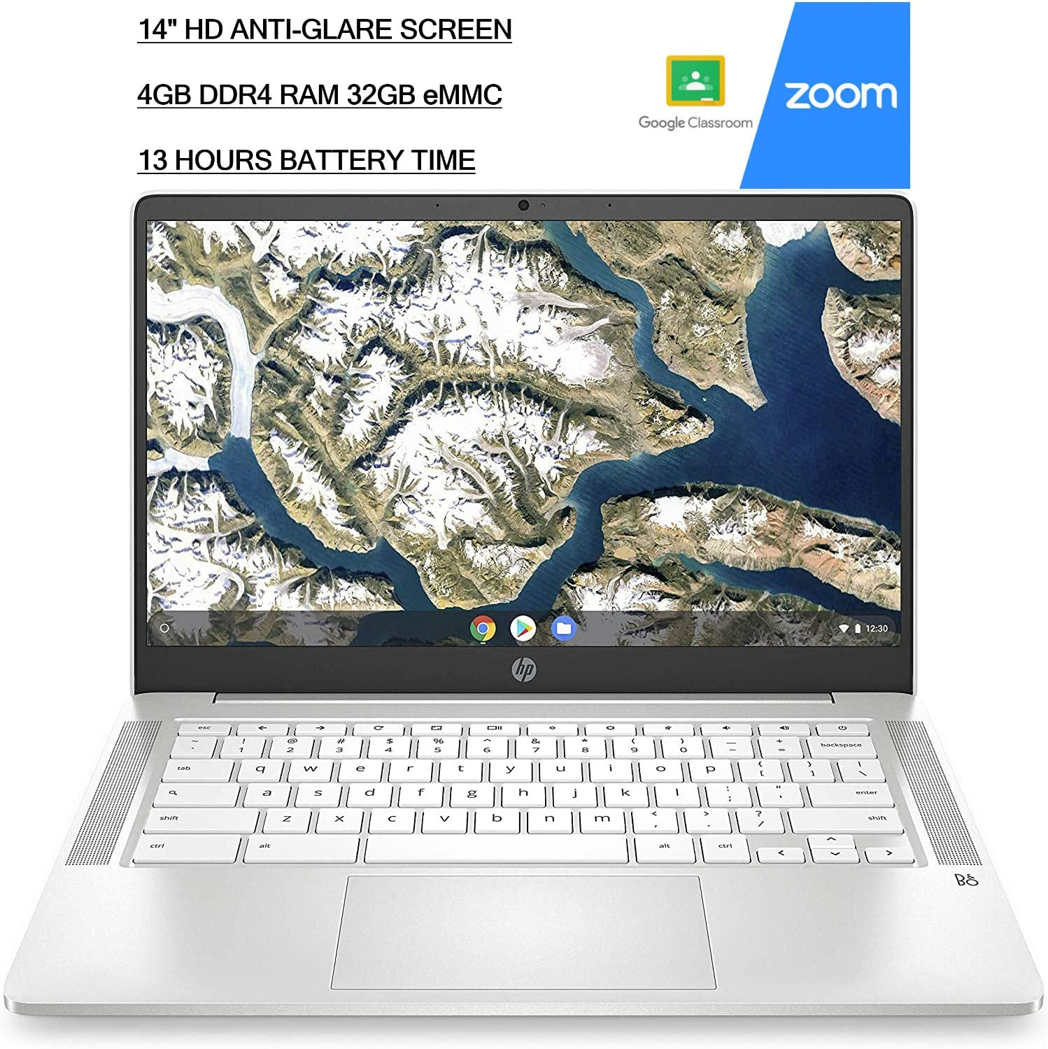 2020 Newest HP 14 inch HD Laptop Computer Chromebook|Intel Celeron N4020 (beat i3) upto 2.8GHz|4GB DDR4 RAM|32GB eMMC| 13h Battery|Google Classroom and Zoom Ready|VGSION Preinstalled Chrome OS, Silver
