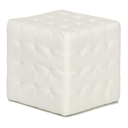 Cortesi Home JoJo Tufted Cube Ottoman, Faux Leather, White