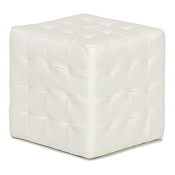 Cool Cortesi Home Jojo Tufted Cube Ottoman Faux Leather White Creativecarmelina Interior Chair Design Creativecarmelinacom