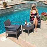 Belleze Wickered Furniture Outdoor Set   3 Piece Patio Outdoor Rattan Patio Set   Two Chairs   One Glass Table   Grey
