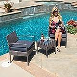 Belleze 3-PCS Patio Outdoor Rattan Furniture Set Cushioned Garden Wicker Rattan with Cushion, Gray