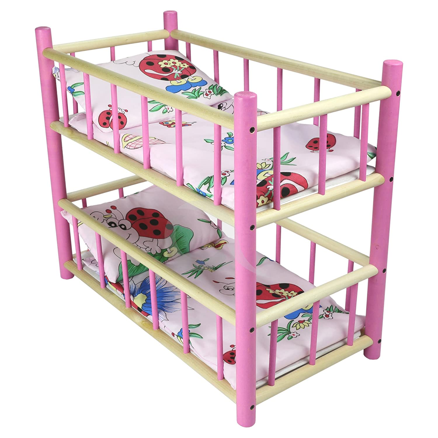 ladybird NEW LARGE WOODEN PINK BUNK BED COT CRIB DOLLS Xmas TOY Fits Up to 50cm 19 Doll