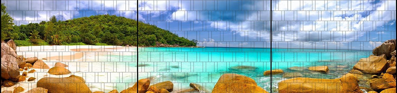 Panorama XXL bedruckte Sichtschutzstreifen für Zaun inkl Tropical Klemmen
