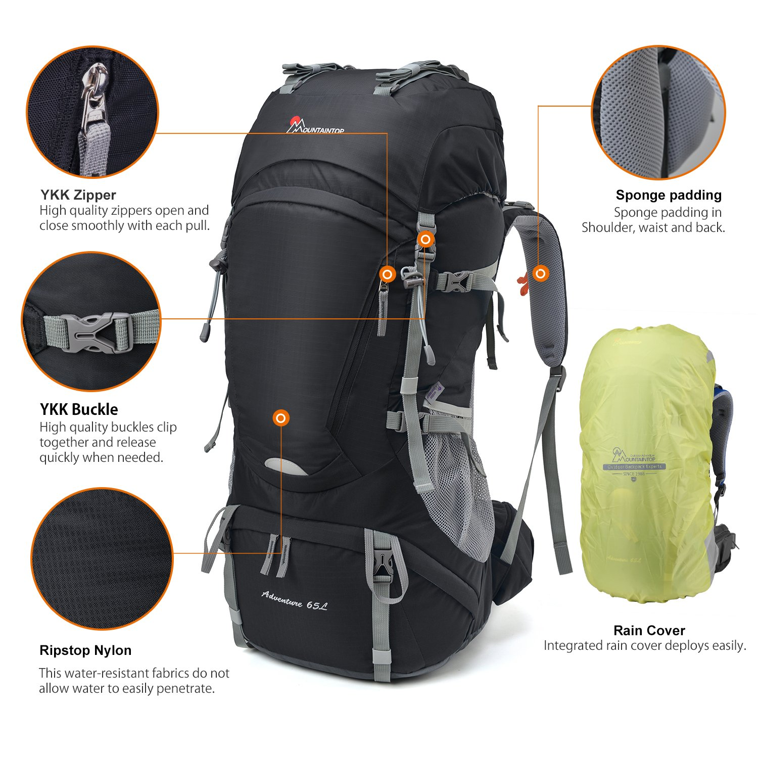 MOUNTAINTOP 50L//55L//60L//65L Internal Frame Backpack Hiking Backpack with Rain Cover