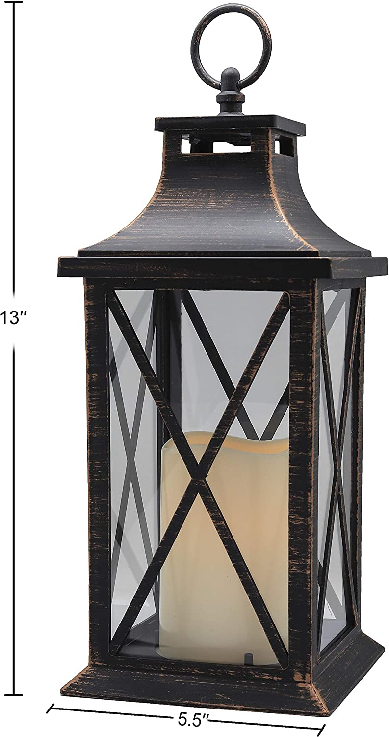 Amazon Com Yakii 14 Decorative Candle Lantern Led Flameless Candle Timer Plastic Led Candle Holder Indoor Outdoor Hanging Lights Thanksgiving Christmas Day Decorations Antique Copper Brushed Kitchen Dining