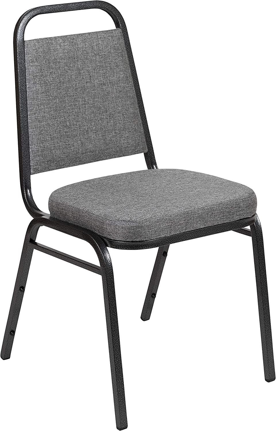"""Flash Furniture HERCULES Series Trapezoidal Back Stacking Banquet Chair with 2.5"""" Thick Seat in Gray Fabric - Silver Vein Frame"""