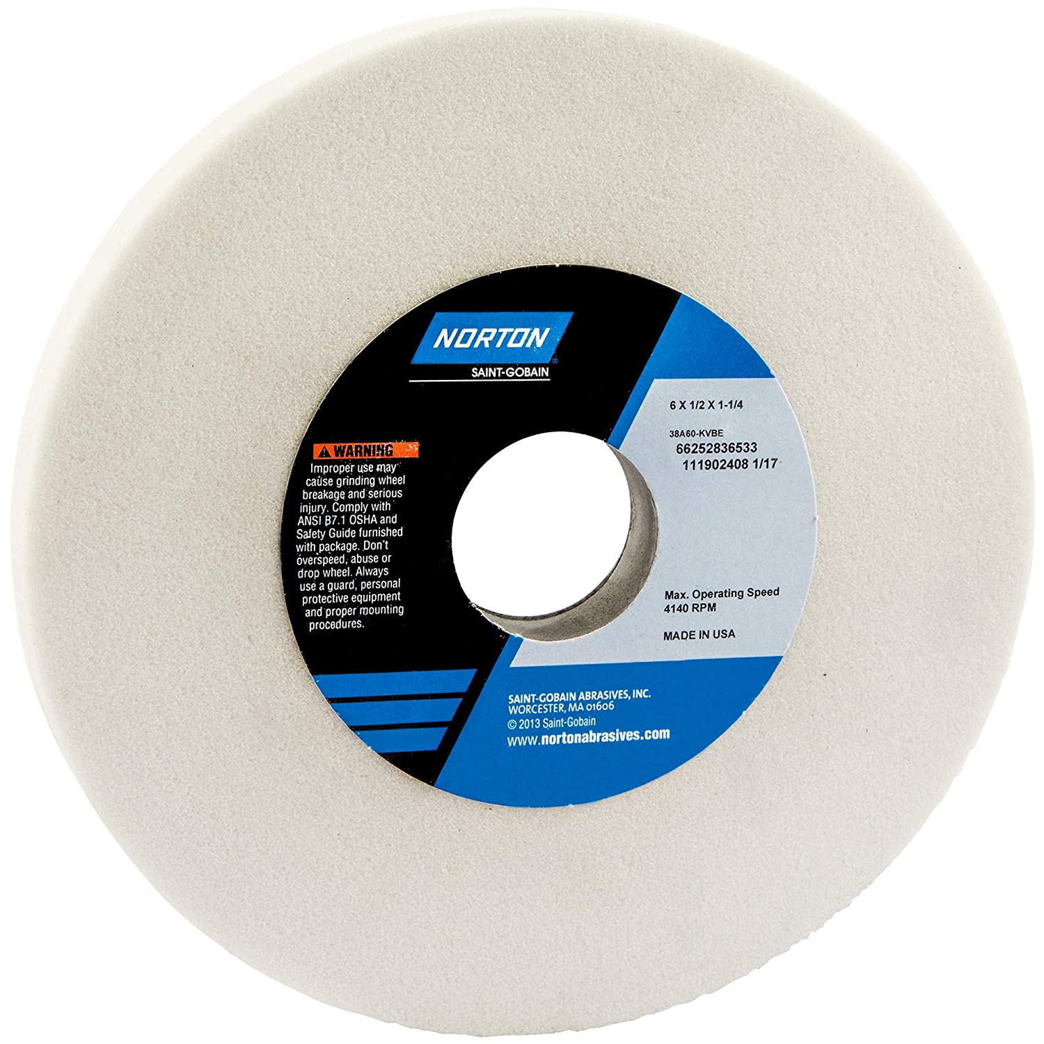 """38A60-JVBE 60 Grit Norton 6/"""" x 1//2/"""" x 1-1//4/"""" Surface Grinding Wheel 38A White"""