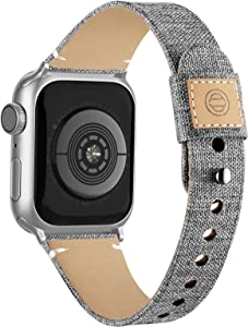 Compatible with Apple Watch Band 38mm 40mm 42mm 44mm for Women Men, Slim Fabric Canvas Band with Soft Leather Lining and Snap Button for Apple Watch Series 6/5/4/3/2/1 SE, Grey 38/40mm