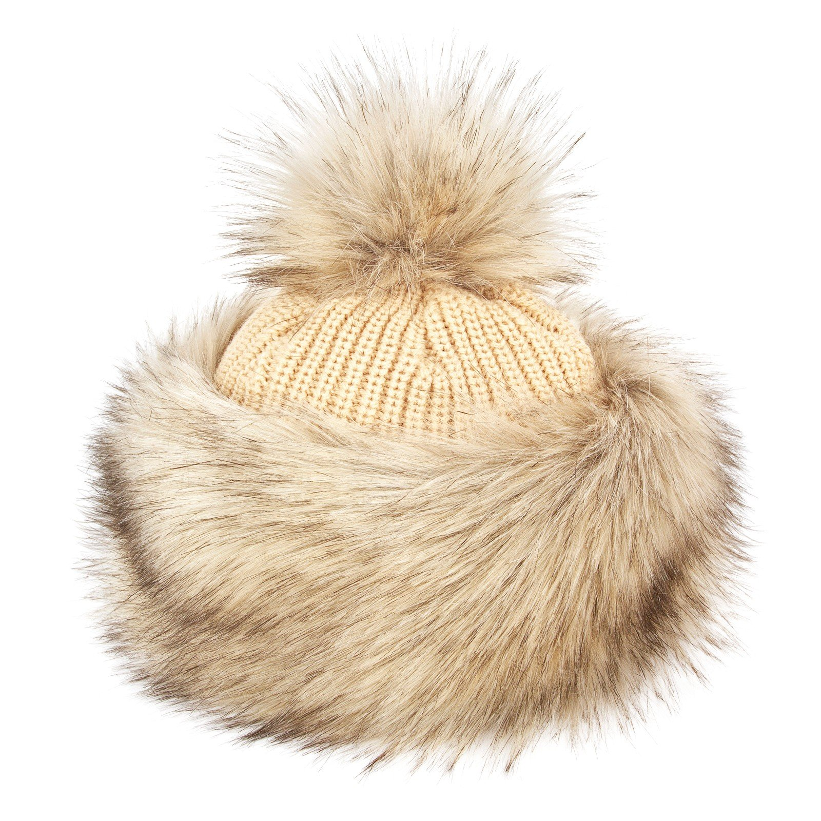 Futrzane Faux Fox Fur Winter Tatars Hat for Women Cossack Pompom Ski (Siberian Wolf)