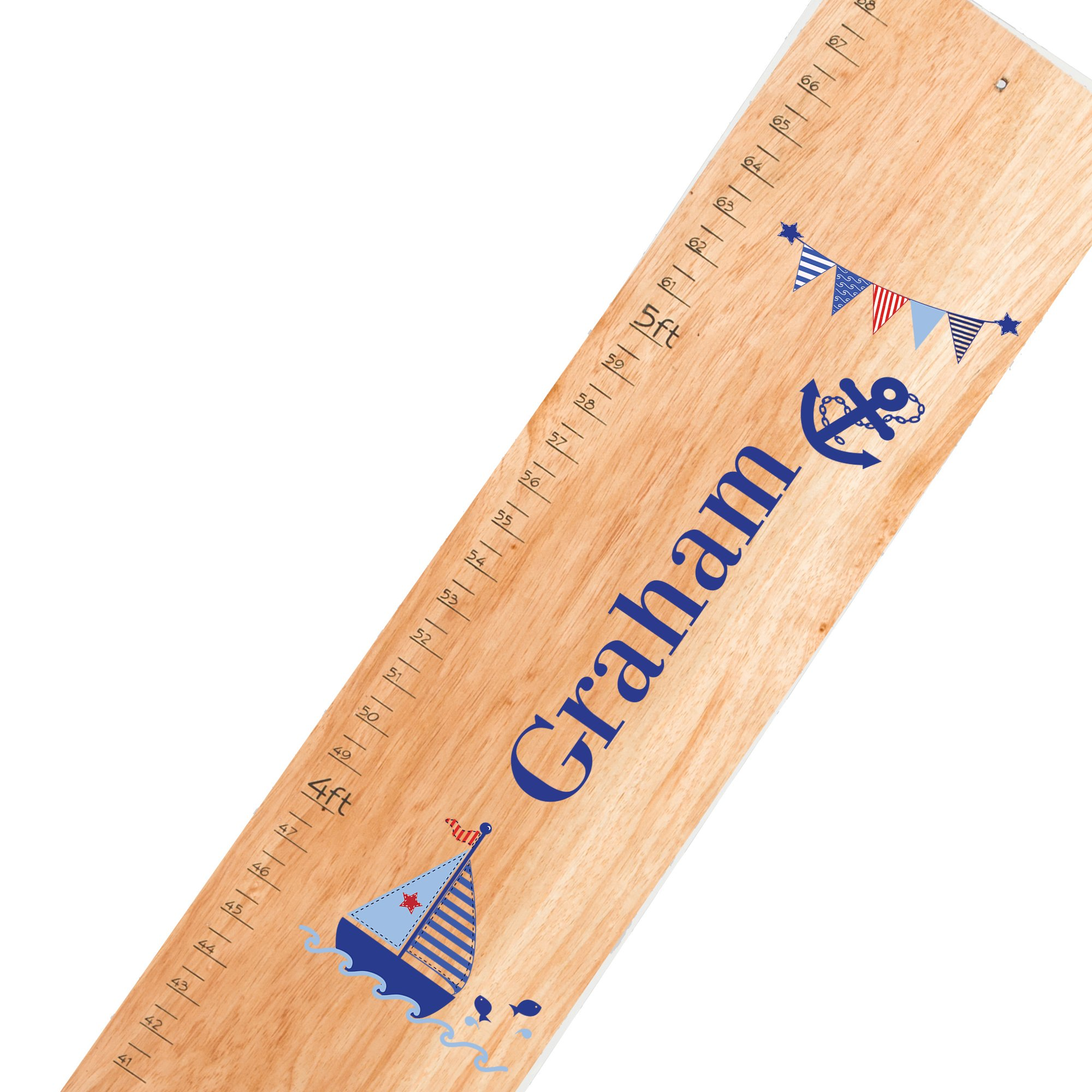 Personalized natural Sailboat boy childrens wooden growth chart