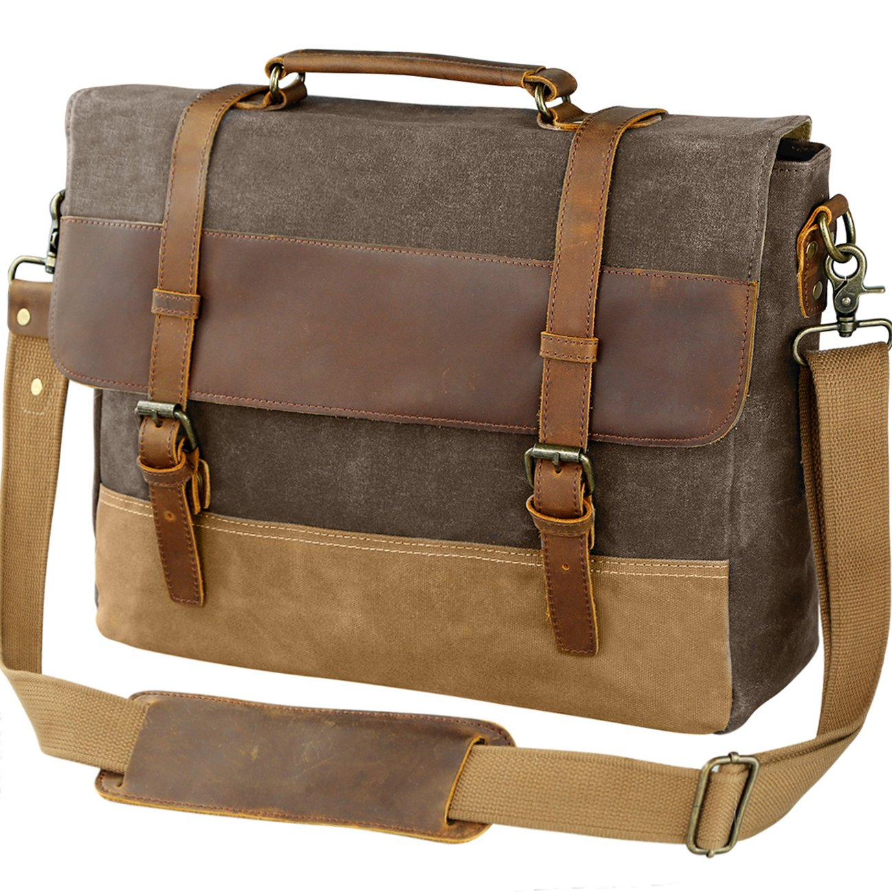 2aefe3e54 WOWBOX 15.6 Inch Messenger Bag for Mens Waxed Waterproof Canvas ...