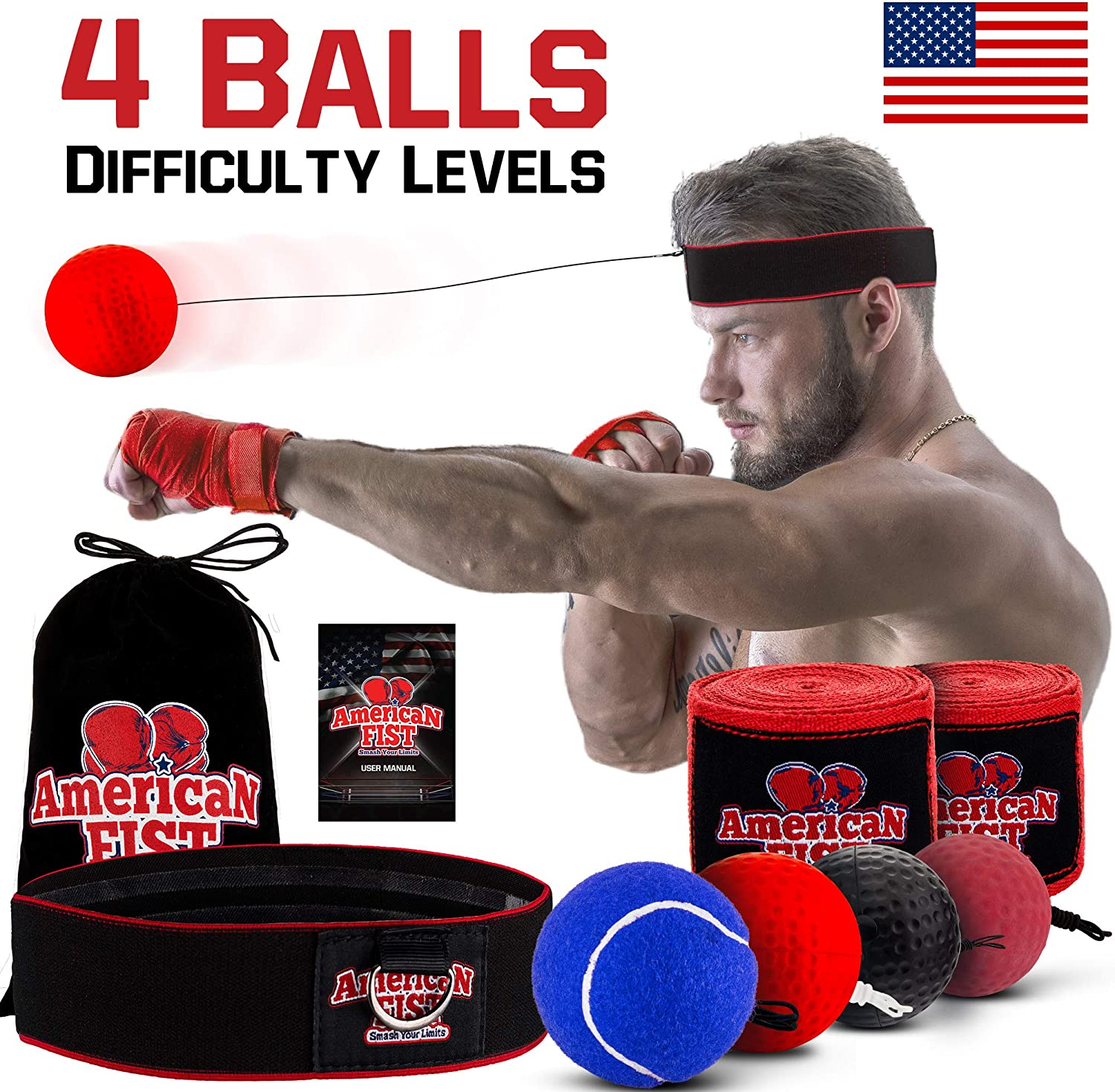 Boxing Reflex Ball Set, 4 Difficulty Level Training Balls On String, Punching Fight React Head Ball with Headband, Speed Hand Eye Reaction and Coordination Boxing Equipment For Kids And Adults : Sports & Outdoors