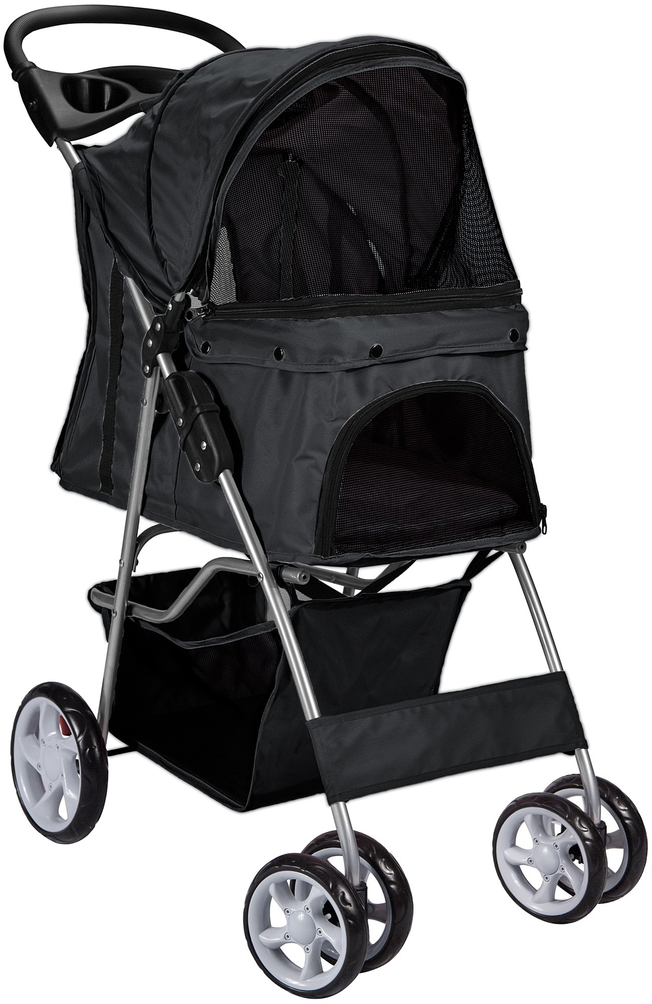 Paws & Pals Pet Stroller Cat/Dog Easy Walk Folding Travel Carrier Carriage, Onyx Black by Paws & Pals