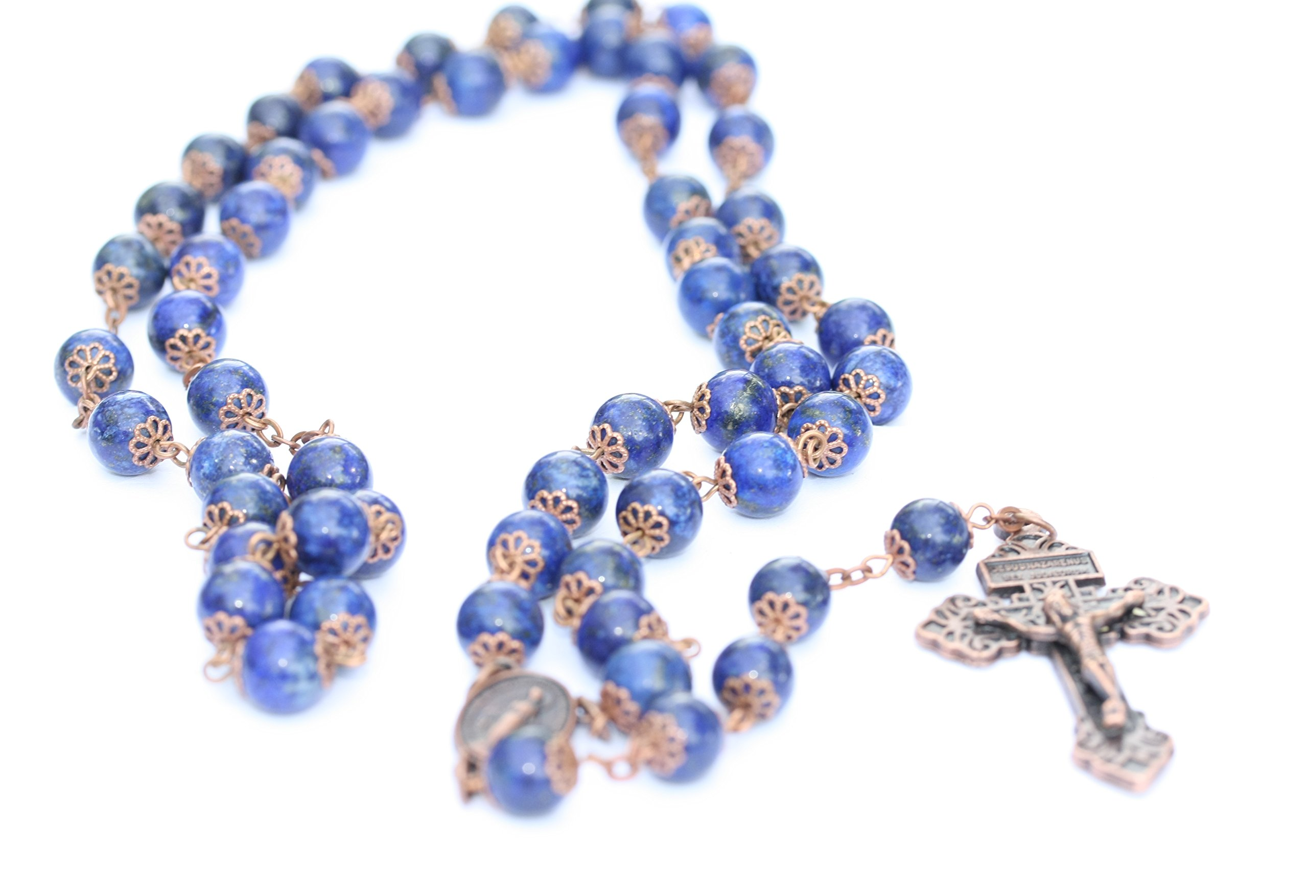 Large Genuine Lapis and Copper 10mm 5 Decade Natural Stone Bead Rosary Made in Oklahoma by Oklahoma Rosaries (Image #4)