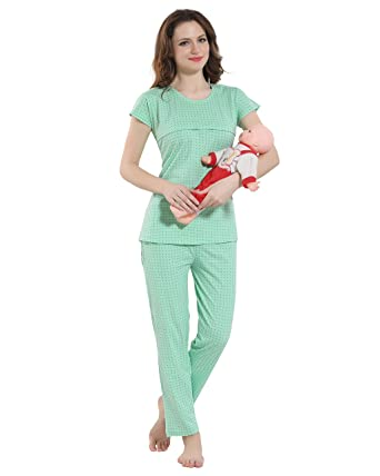 f7f85b6a2d Kayimi Women s Cotton Feeding Maternity Nursing Night Suit  Amazon.in   Clothing   Accessories