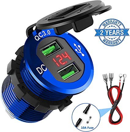 Waterproof Car 3.1A 12-24V Dual USB Port Power Fast Quick Charge Socket Charger