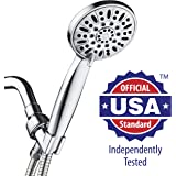 """AquaDance High Pressure 6-Setting 4"""" Chrome Face Hand Held Shower Head with Hose for the Ultimate Shower Experience! Officially Independently Tested to Meet Strict US Quality & Performance Standards"""