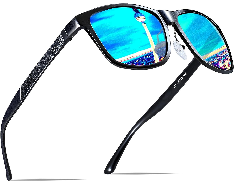 ATTCL Herren Polarisierte Fahren Sonnenbrille Al-Mg Metall Rahme Ultra Leicht 8587