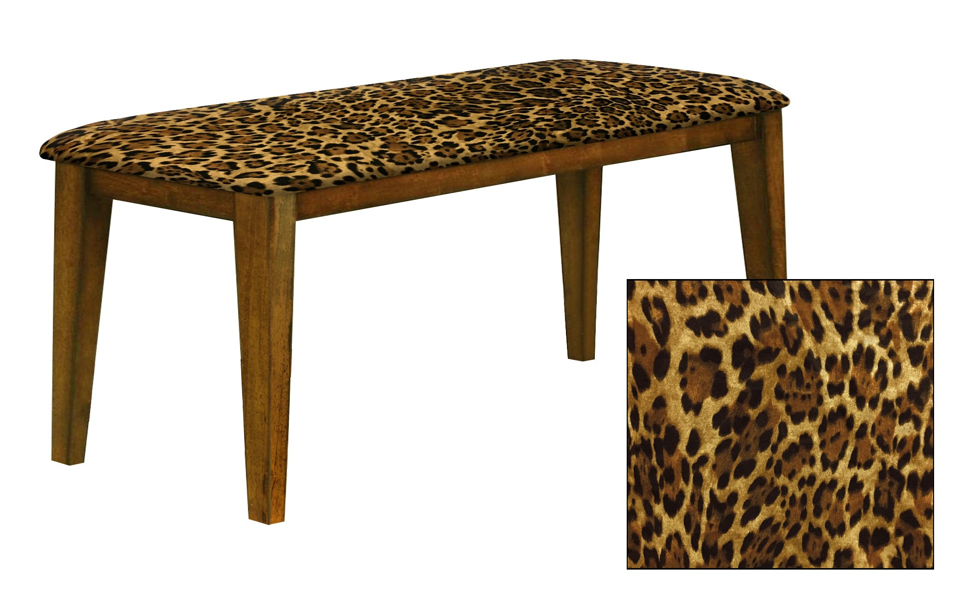 """Oak Finish 19"""" Tall Universal Bench Featuring a Padded Seat Cushion With Your Choice of an Animal Print Fabric Covered Seat Cushion (Leopard Large Cotton)"""