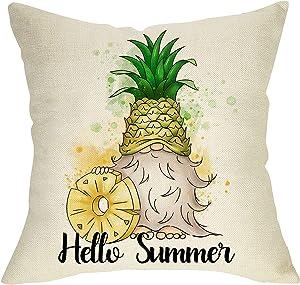 Ussap Hello Summer Decorative Throw Pillow Cover, Pineapple Gnome Rustic Home Farmhouse Decorations, Seasonal Cushion Case for Sofa Couch Decor Cotton Linen 18