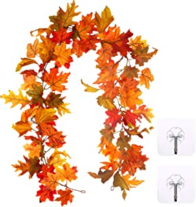 Whaline Artificial Autumn Maple Leaves Garland, Fall Hanging Plant for Home Garden Wall Doorway Fireplace Decoration Wedding Party Thanksgiving Day Decor (5.5-6 ft)
