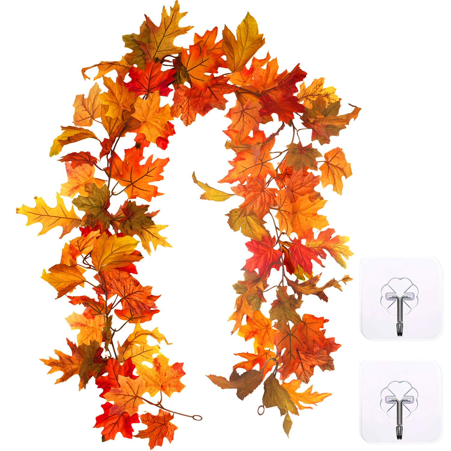 Whaline Artificial Autumn Fall Maple Leaves Garland Hanging Plant for Home Garden Wall Doorway Backdrop Fireplace Decoration Wedding Party Decor (Light)