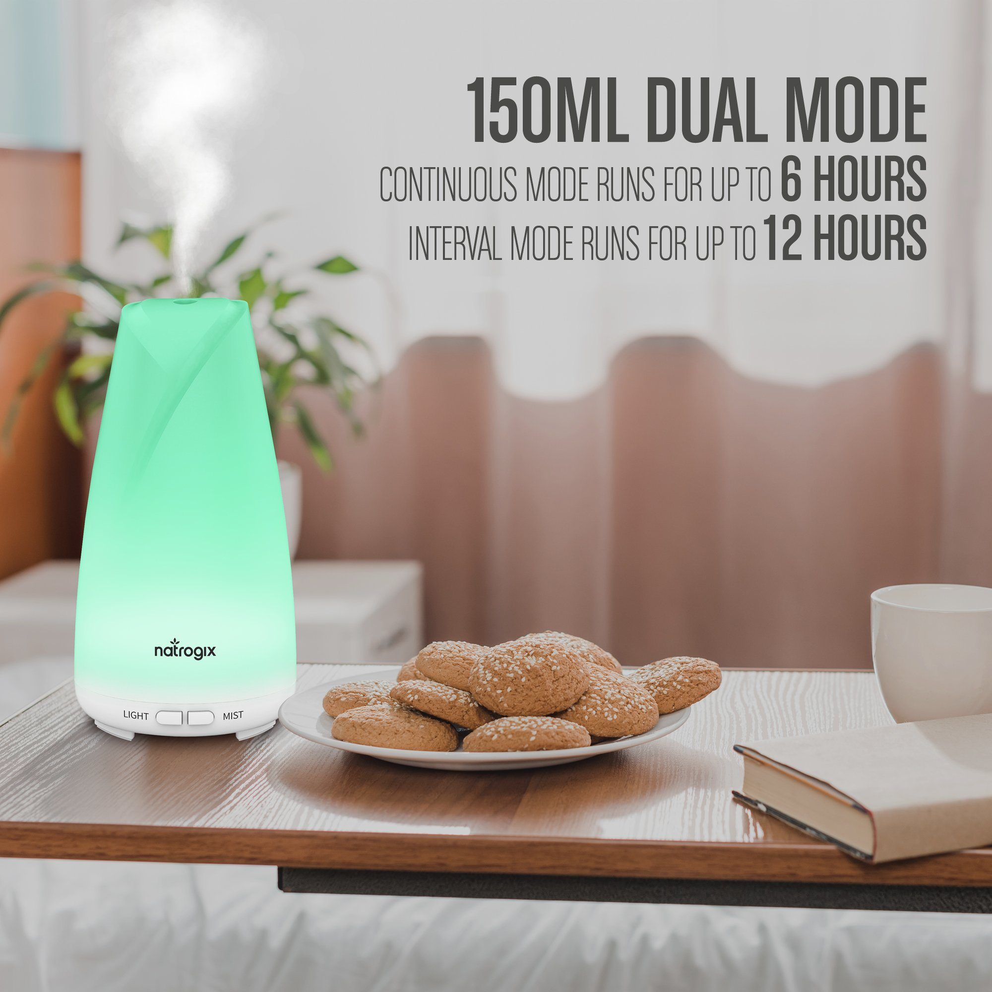 Essential Oil Diffuser 150ml by Natrogix Totem - Cool Mist Aroma Humidifier for Aromatherapy 7 Colors with Changing Colored LED Lights, Waterless Auto Shut-off and Adjustable Mist Mode w/ Free E-Book by Natrogix (Image #4)