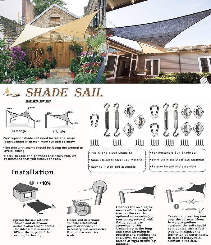 LOVE STORY Toldo Vela de Sombra(HDPE) Rectangular 2×2m Antracita Protección UV para Terraza Camping Jardín al Aire Libre