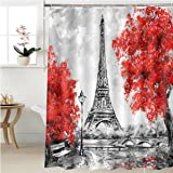 Gzhihine Shower Curtain Oil Painting Paris European City Landscape France Wallpaper Eiffel Tower Black White And