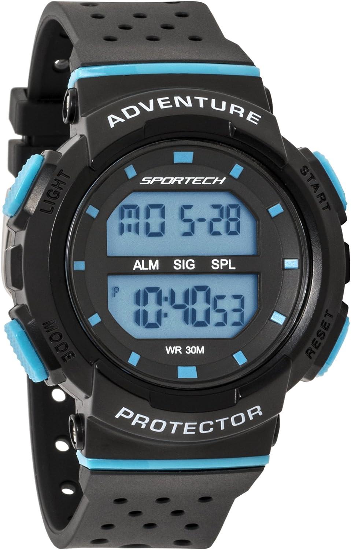Reloj Deportivo Deportivo Unisex, Color Negro y Azul, Resistente al Agua, SP12704