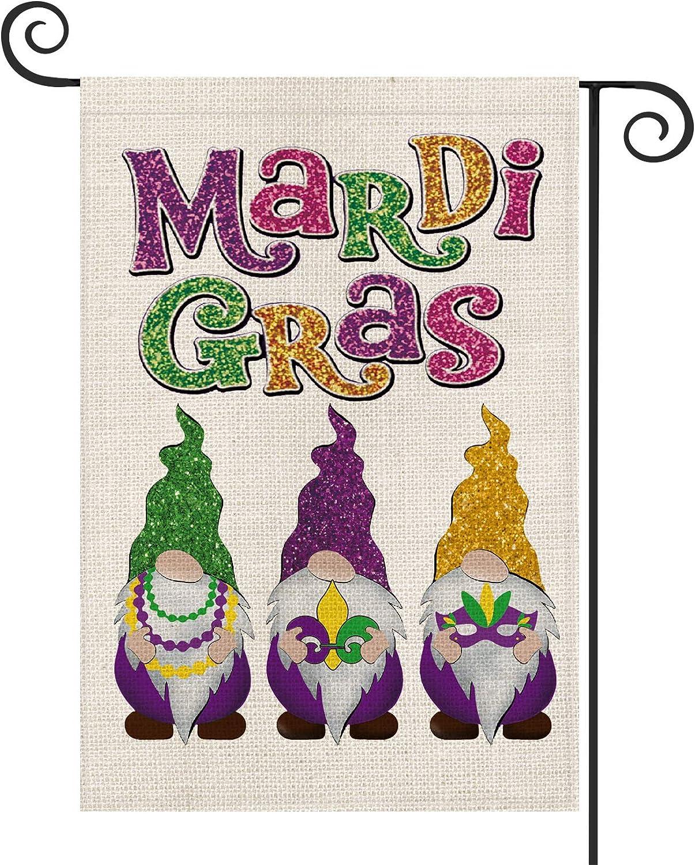 AVOIN Mardi Gras Gnome Bead Masquerade Mask Fleur de Lis Garden Flag Vertical Double Sided, Holiday Party Yard Outdoor Decoration 12.5 x 18 Inch
