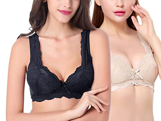 22efa33f5cf85 Intimate Portal Women Danielle Wire Free Pocketed Bra Wireless Comfort with  Lace 2-PK Black