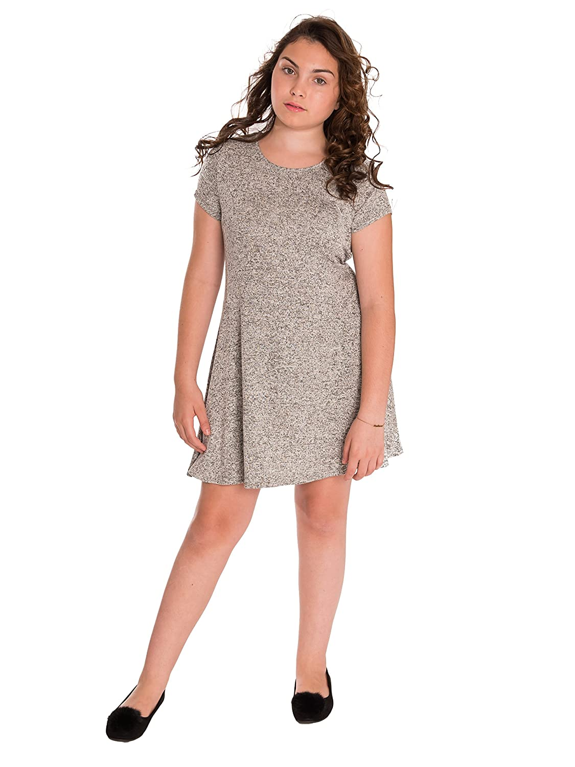 dc8b6fcc83 ENJOY SUPERB COMFORT  Let your girl move and stroll without limits as this  skater dress features a soft sweater knit and U-scoop neckline which allows  ...