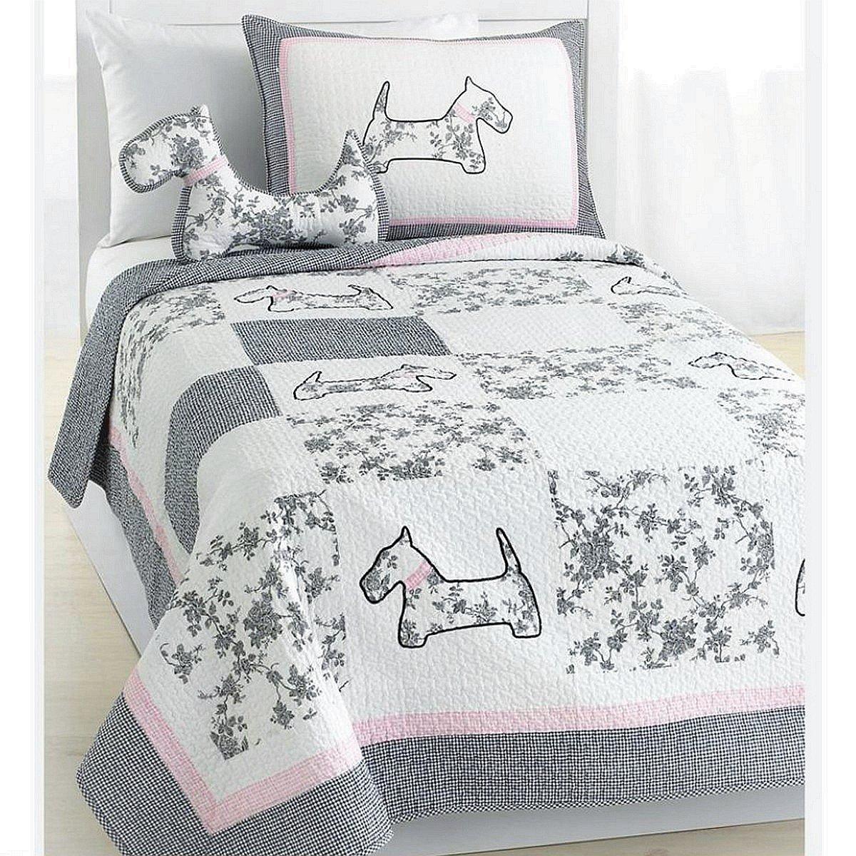 Cozy Line Home Fashions Scottie Pup Pink White Grey Dog Flower Pattern Printed Patchwork Cotton Bedding Quilt Set Coverlet Bedspreads(Grey/White, Queen - 3 Piece: 1 Quilt + 2 Standard Shams)