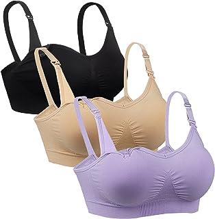 04ab0307837 Desirelove Nursing Bra 3 Pack Maternity Seamless Bras with Removable ...