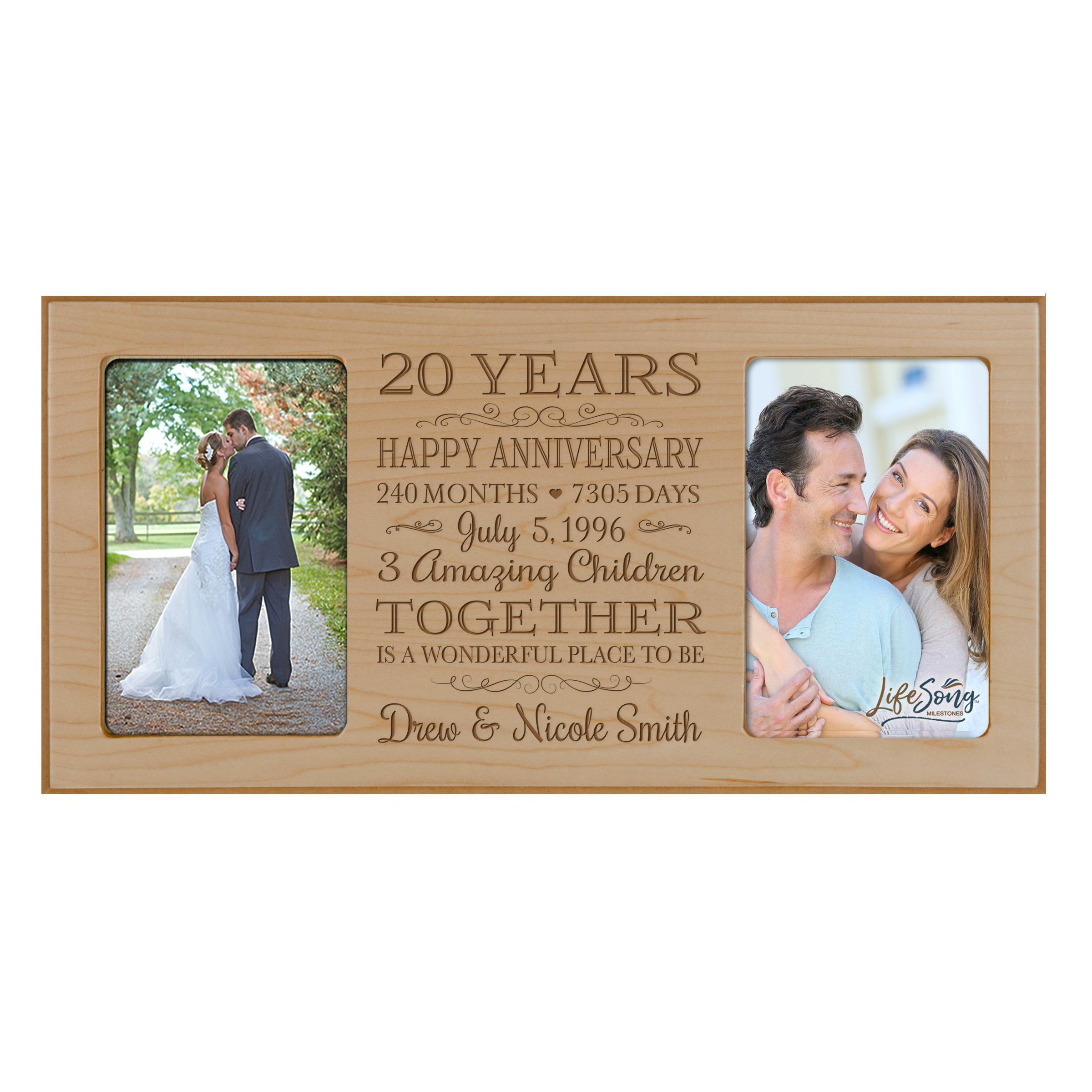 LifeSong Milestones Personalized Twenty Year her him Couple Custom Engraved Wedding Celebration for Husband Wife Girlfriend Boyfriend Photo Frame Holds Two 4x6 Photos (Maple) by LifeSong Milestones (Image #1)
