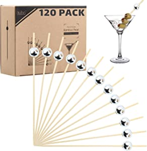 Bamboo Cocktail Picks Skewers Toothpicks - (120 Pack) 4.75 Inch Silver Pearl Wooden Frill Tooth Picks for Appetizer Martini Food Garnish Cocktail Sandwich Fruit Kabobs – Catering Weddings Decorative