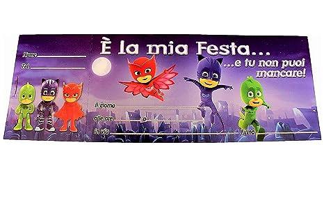Blocchetto Inviti Per Festa Compleanno Bambini Pj Masks Super