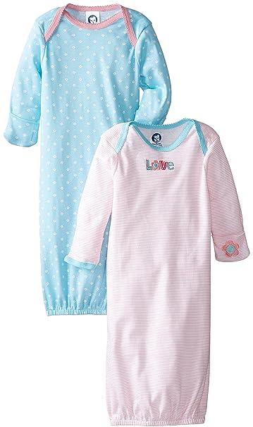 f711e3923 Amazon.com  Gerber Baby-Girls Newborn 2 Pack Love Lap Shoulder Gown ...