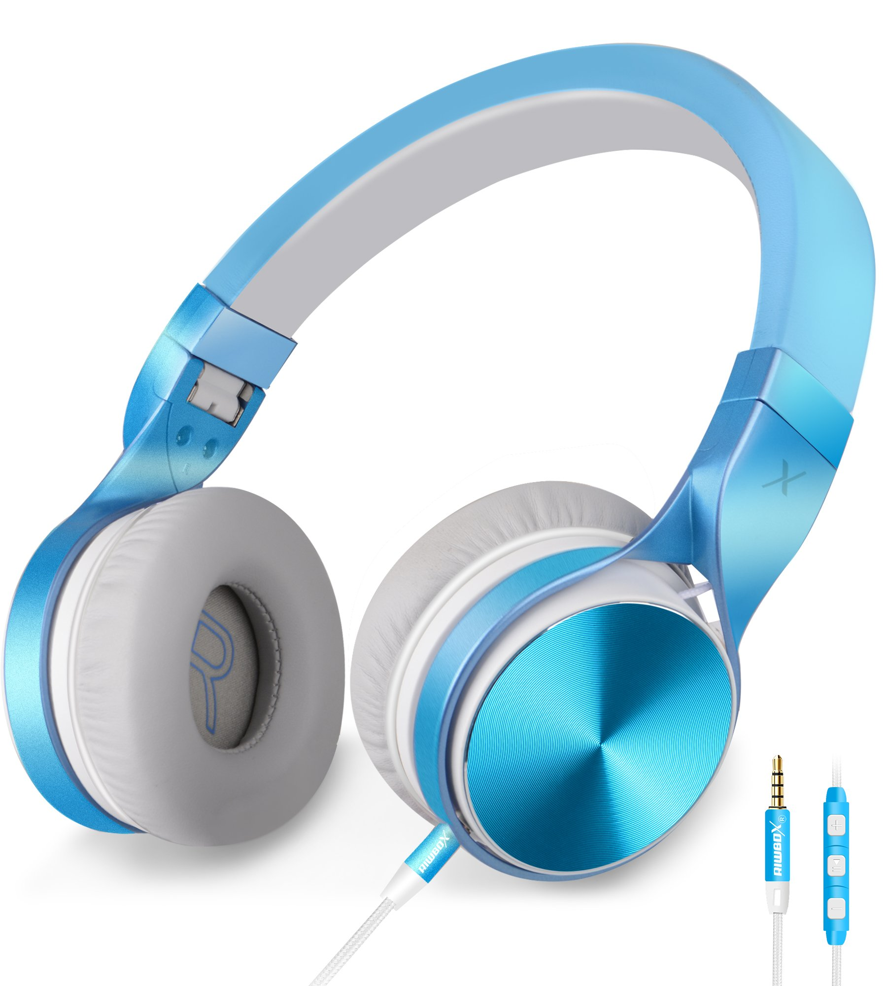 HeadphonesRiwbox-in-5-Headphones-with-Microphone-and-Volume-Control-Folding-Lightweight-Headset-for-iPhone-Cellphones-Tablets-Smartphones-Laptop-Computer-PC-Mp34