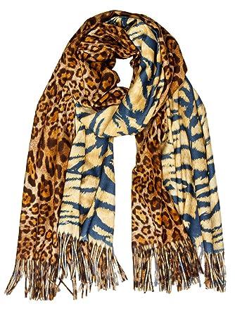 0ed999995 Caspar SC502 Écharpe XL avec motif tigre/léopard pour femme - étole ...