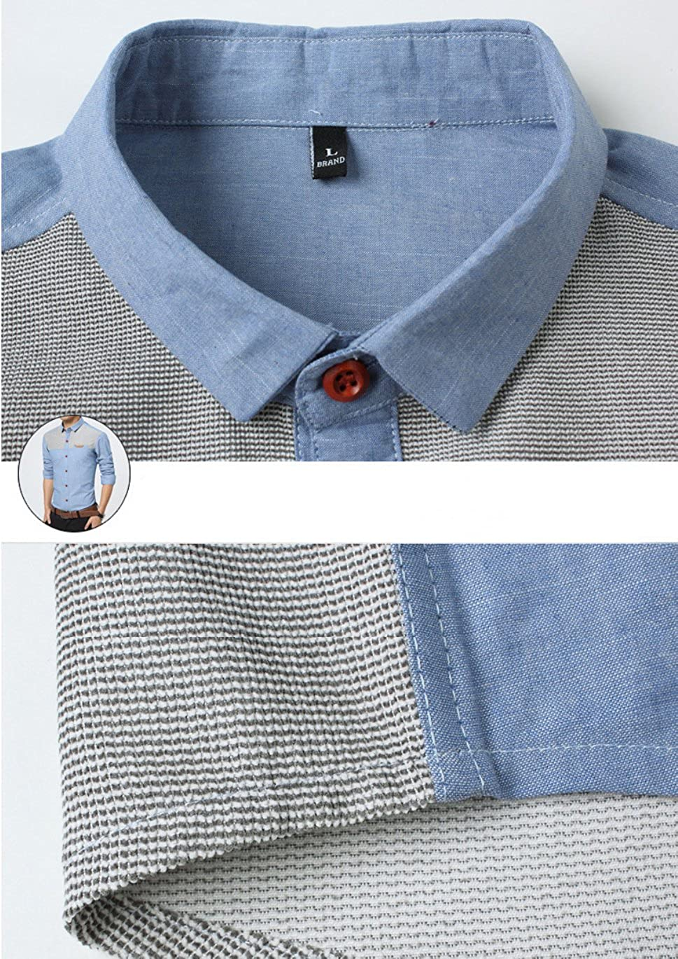 Gihuo Mens Casual Slim Fit Color Block Long Sleeve Button Down Shirt