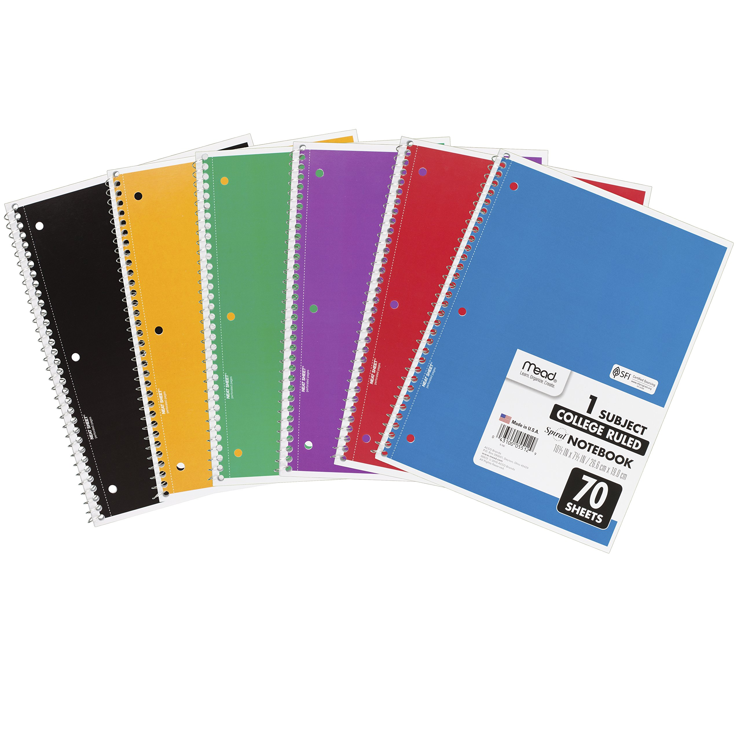 Mead Spiral Notebooks, 1 Subject, College Ruled Paper, 70 Sheets, 10-1/2'' x 7-1/2'', Assorted Colors, 6 Pack (73065)