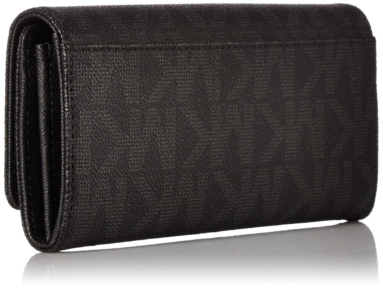 f8a587c159cf Amazon.com: Michael Kors Fulton Flap Signature MK PVC Clutch Wallet Black:  Shoes
